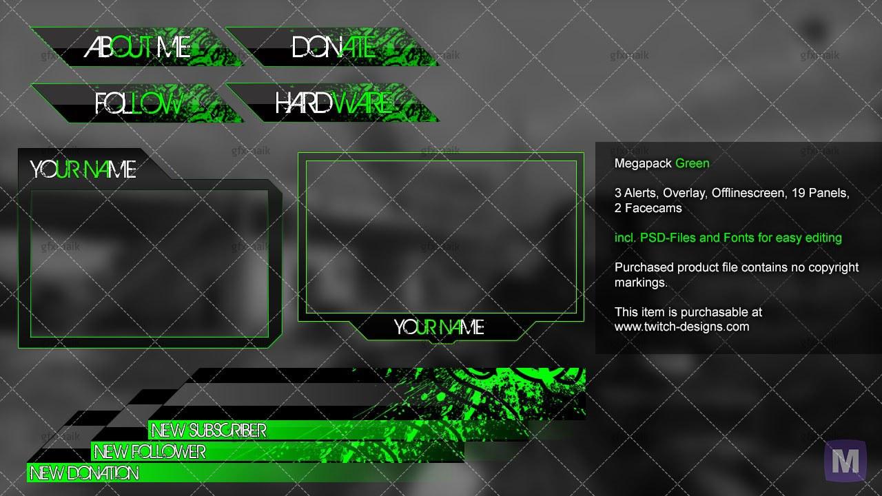 neon green mega pack twitch designs. Black Bedroom Furniture Sets. Home Design Ideas