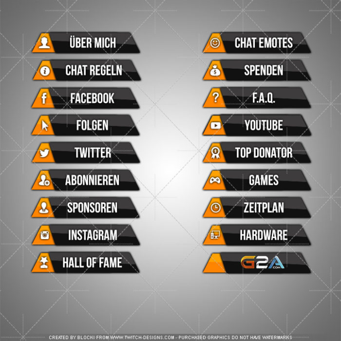 twitch panels glossy orange deutsch