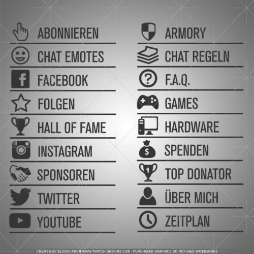 twitch panels minimal design deutsch