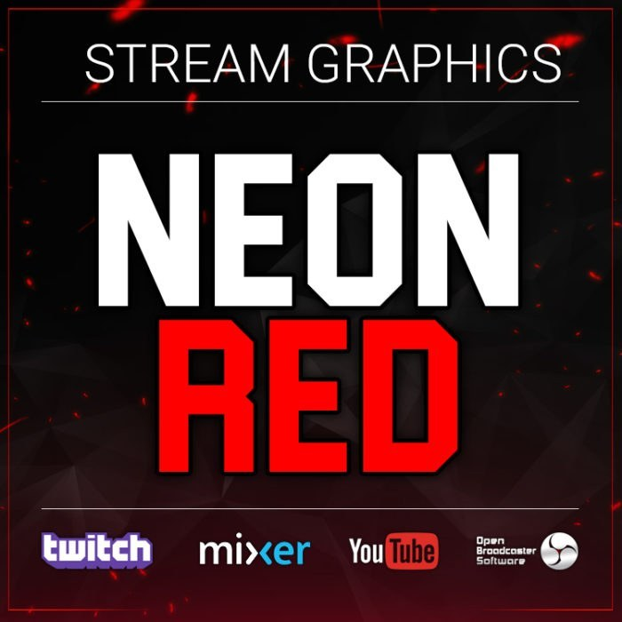 neon red stream graphics bundle