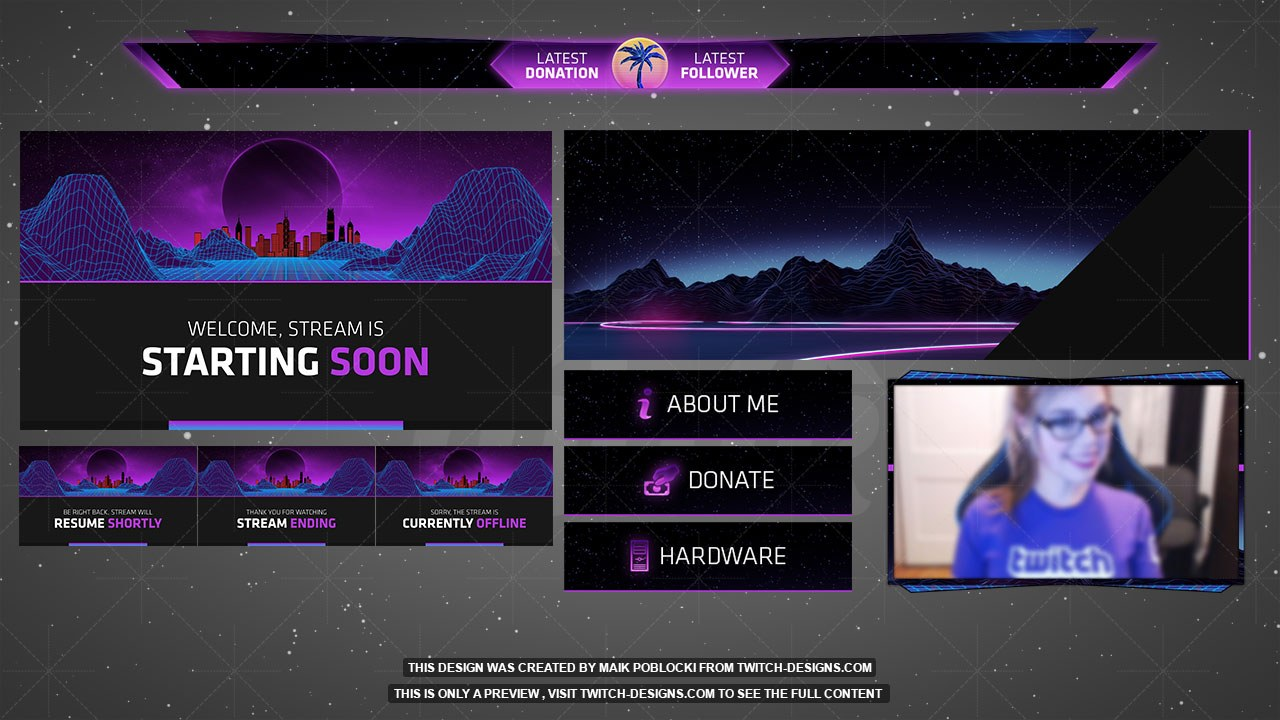 Space pack twitch designs for Twitch overlay ideas