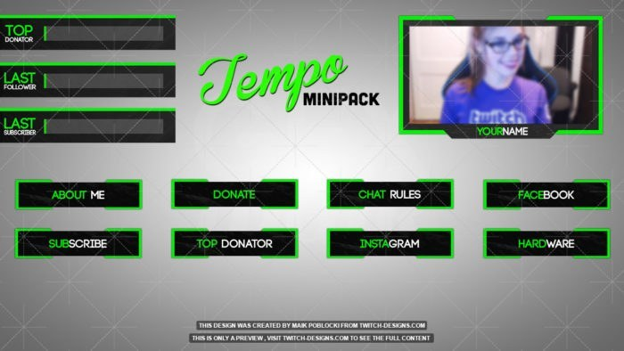 twitch overlay green minipack