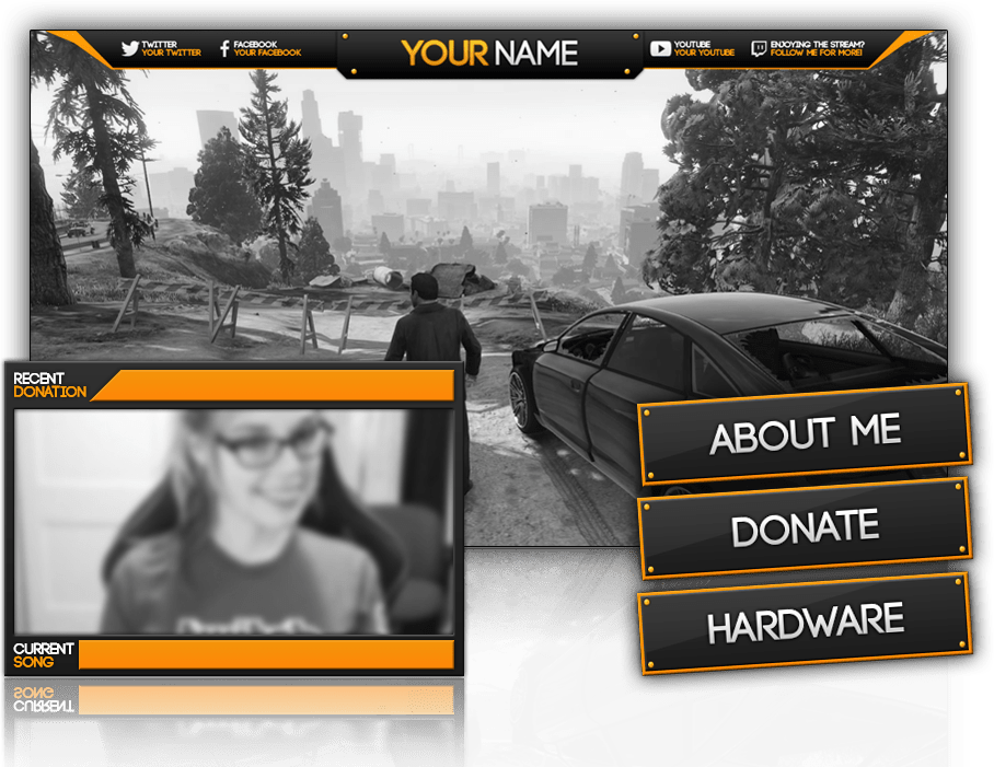 twitch orange minipack graphics overlay preview