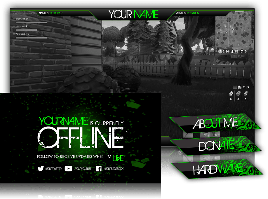 Twitch Overlay Neon Green Megapack