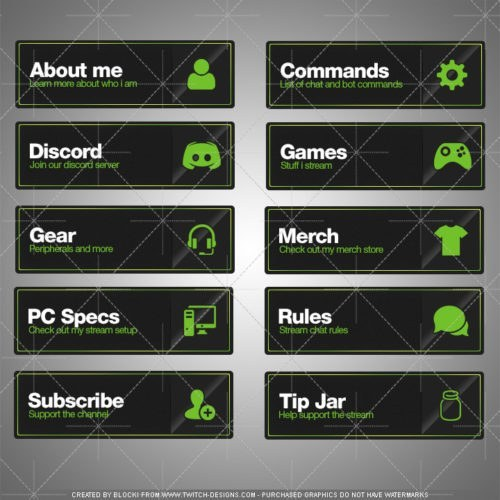 twitch panels download green english